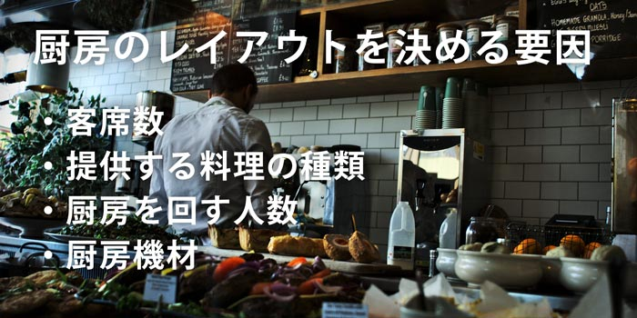 店舗の内装デザインの厨房レイアウト